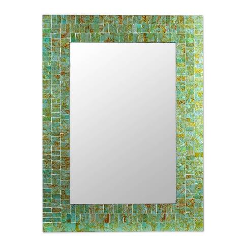 Handmade Glass Mosaic 'Sumptuous Summer Light' Mirror (India)