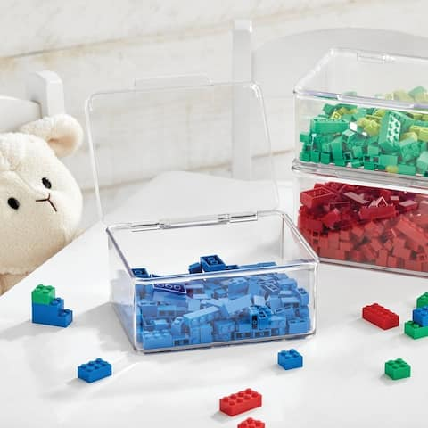 mDesign Plastic Stackable Toy Storage Bin Box with Lid, 8 Pack - Clear - 5.6 X 6.7