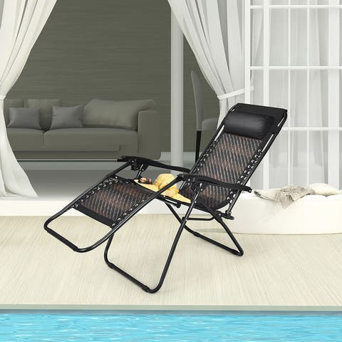 Costway Patio Rattan Zero Gravity Lounge Chair Chaise Folding Recliner