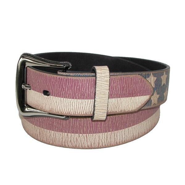 3 D Belt Company Men's Vintage Distressed Leather American Flag Belt