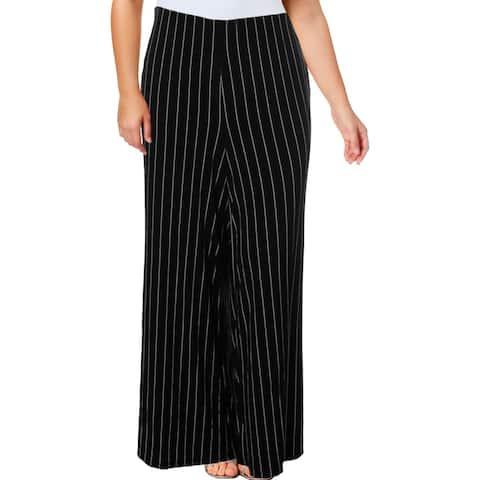 Lauren Ralph Lauren Womens Plus Straight Leg Pants Striped Stretch
