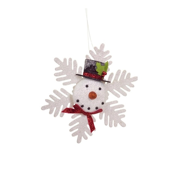 """7.75"""" Glittered Snowflake Snowman with Top Hat Decorative Christmas Ornament - WHITE"""