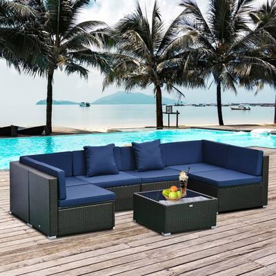 7-piece Modern Rattan Wicker Outdoor Modular Sectional Patio Set