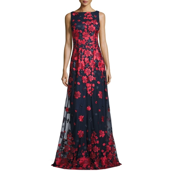Shop David Meister Sleeveless Floral Embroidered Tulle Evening Gown ...