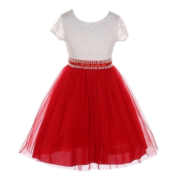 Shop Little Girls Red Lace Shiny Tulle Stone Adorned Belt Flower Girl Dress  - Free Shipping On Orders Over  45 - Overstock.com - 25490019 39a8b955252a