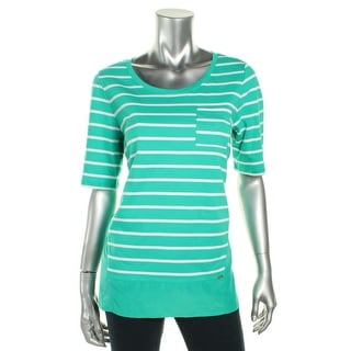 Tommy Hilfiger Womens Ellery Casual Top Cotton Striped - l