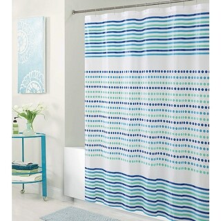 Bath Bliss Romford PEVA Shower Curtain, Blue-Green, 70x72 Inches