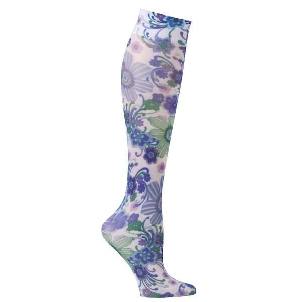 Women's Printed Mild Compression Wide Calf Knee High Stockings - Raining Flowers