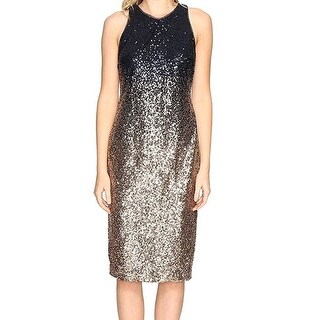 Nicole Miller NEW Black Gold Womens Size 10 Sequined Sheath Dress