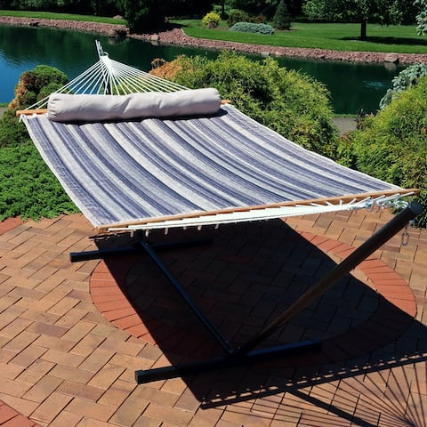 Sunnydaze 2-Person Quilted Spreader Bar Hammock Bed w/ 12' Stand - Mountainside