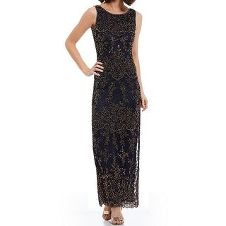 Pisarro Nights NEW Blue Gold Womens Size 14 Embellished-Overlay Gown