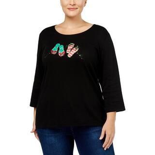 26e649c2b27644 KAREN SCOTT Womens Blue Striped Short Sleeve Jewel Neck Top Size  XS ·  Quick View