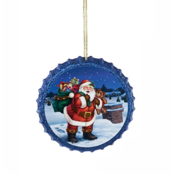 "4"" Retro Santa Claus Blue Glittered Decoupage Bottle Cap Christmas Ornament"
