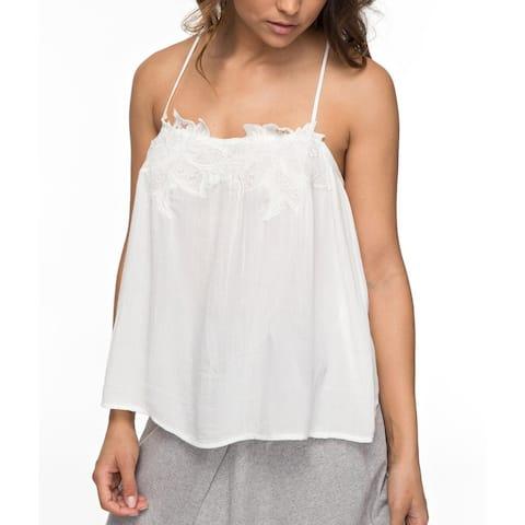 Roxy Crisp White Womens Size XS Crochet Sun Hoops Tank Cami Top