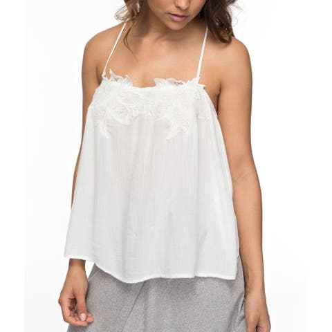Roxy Womens Small 'Sun Hoops' Embroidered Tank Cami Top