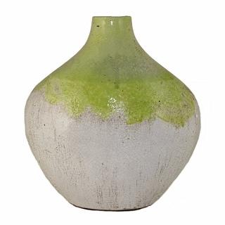 Ceramic Vase, White And Green(EN40397)