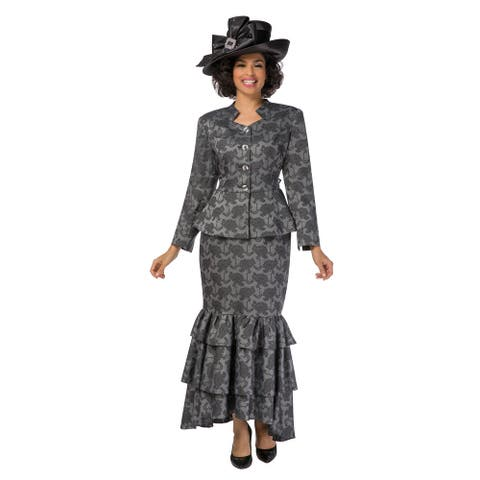 Giovanna Collection Women's 2-pc Textured Brocade Skirt Suit w/ Tierred Hem