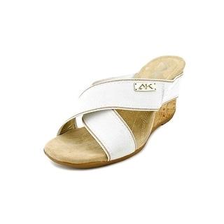 Anne Klein Sport Lorri Women  Open Toe Canvas White Wedge Sandal