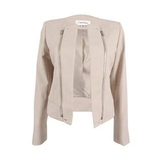 Calvin Klein Women's Petite Zip-Trim Open-Front Blazer