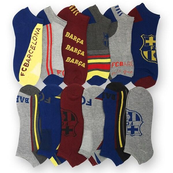 12PK: Men's Barcelona Soccer Socks - multi color