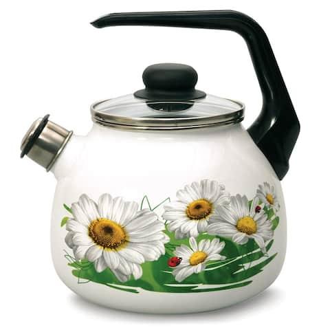 STP-Goods 3.2-Qt Daisies Enamel on Steel Whistle Tea Kettle w/ Glass Lid