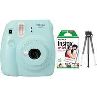 Fujifilm Instax Mini 9 (Ice Blue) w/ Single Foil Pack Film & Tripod Kit