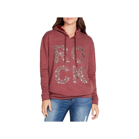 William Rast Womens Solitaire Hoodie Embellished Graphic
