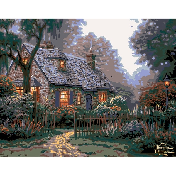 """Paint By Number Canvas W/Lights Kit 11""""X14""""-Foxglove Cottage"""