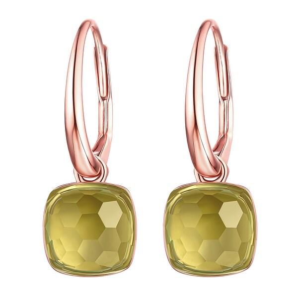 Vedantti Mini Honeycomb Cut Green Amethyst Gemstone Accomplisher Leverback Earring