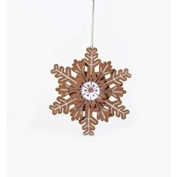 """6"""" Gingerbread Kisses Battery Operated LED Lighted Glitter Snowflake Christmas Ornament"""