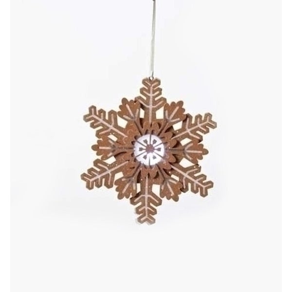 "6"" Gingerbread Kisses Battery Operated LED Lighted Glitter Snowflake Christmas Ornament - brown"