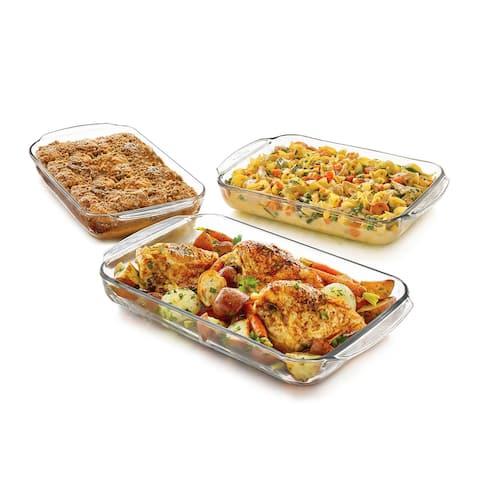Libbey Baker's Basics 3-Piece Glass Casserole Baking Dish Set