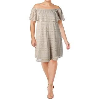 Addition Elle Womens Plus Party Dress Off-the-Shoulder Knee-Length