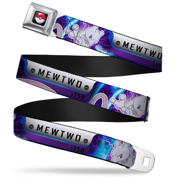 Pok Ball Full Color Black Pokmon #150 Mewtwo 2 Charged Poses Black Silver Seatbelt Belt