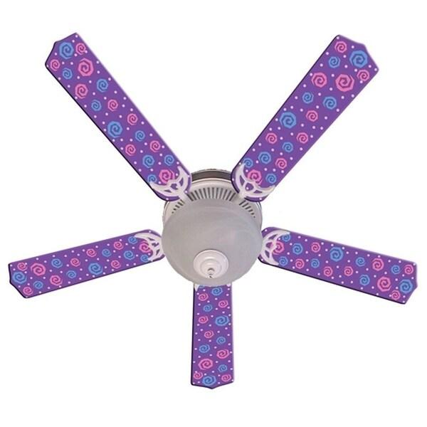 Purple Swirly Dot Designer 52in Ceiling Fan Blades Set - Multi