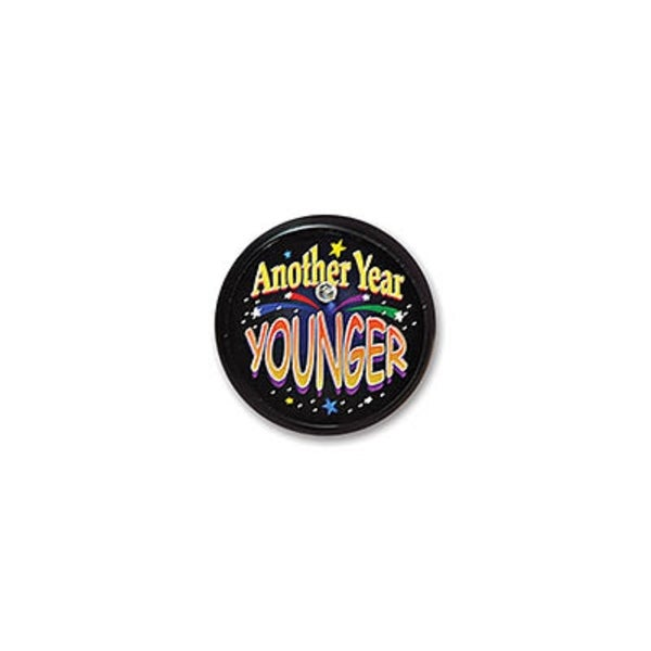 """Pack of 6 Black """"Another Year Younger"""" Birthday Celebration Blinking Buttons 2"""" - N/A"""