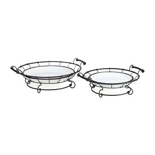 IMAX Home 17339-2  Helena MDF and Wrought Iron Trays - Set of 2 - Black