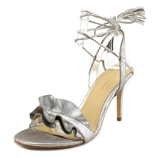 Marc Fisher Bamba Women Open Toe Suede Silver Sandals