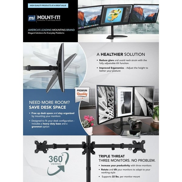 """Triple LCD Monitor Desk Mount Stand Heavy Duty Fully Adjustable up to 24/"""""""