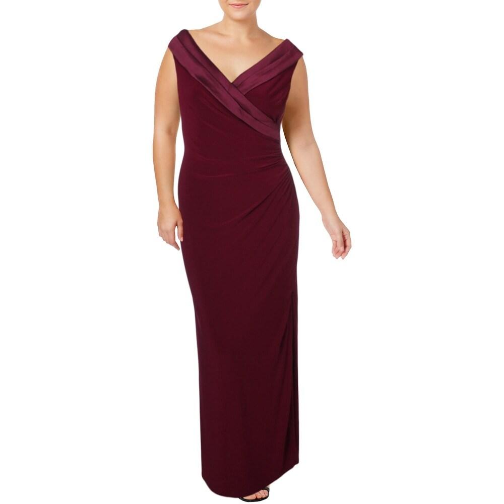 Lauren Ralph Lauren Womens Leonette Evening Dress Off-The-Shoulder Sheath