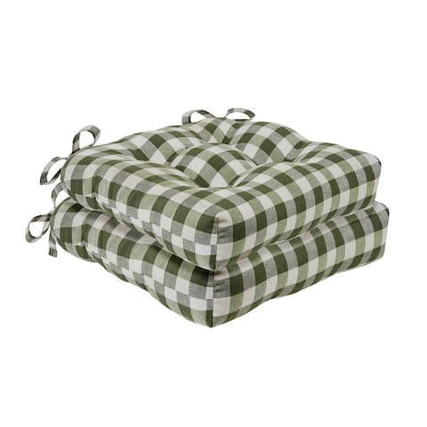 Buffalo Check Tufted Chair Seat Cushions - Set of Two