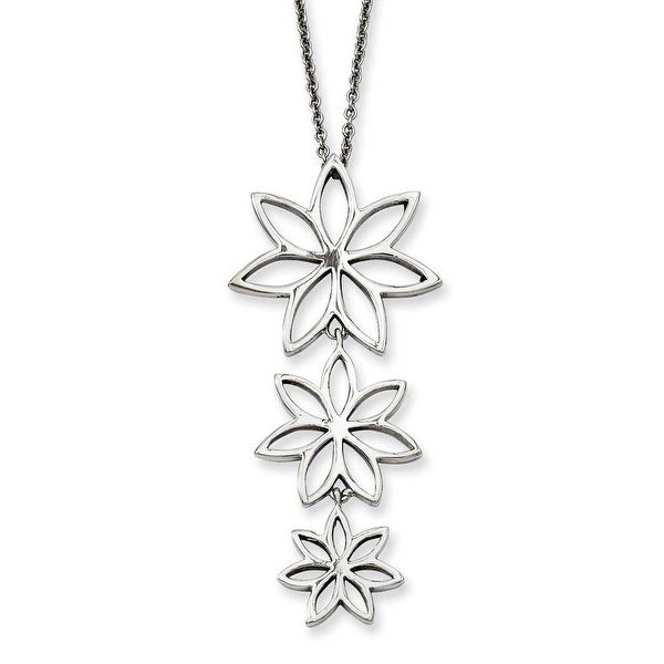 Stainless Steel Polished Flowers 18in Necklace (1 mm) - 18 in