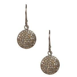 Genuine Diamond Disc Earrings in Sterling Silver with Black Rhodium