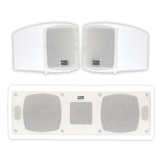 Acoustic Audio AA321W and AA40CW Indoor Speakers Home Theater 3 Speaker Set