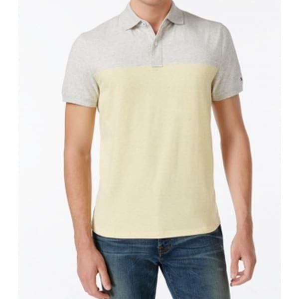18d8b38c Shop Tommy Hilfiger NEW Yellow Gray Mens Size XLT Colorblock Polo Shirt -  Free Shipping On Orders Over $45 - Overstock - 18306572