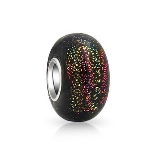 Bling Jewelry Black Purple Green Gold Foil Murano glass Lampwork Round Bead Charm .925 Sterling Silver