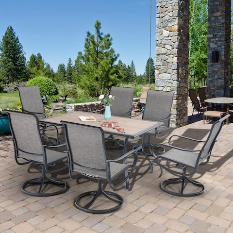 """MFSTUDIO 7 Pieces Metal Outdoor Dining Set, 6 Sling Dining Swivel Chairs and 60"""" x 37"""" Rectangular Table with Wood-Like Top"""