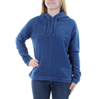 Womens Blue Long Sleeve Jewel Neck Casual Sweater Size S