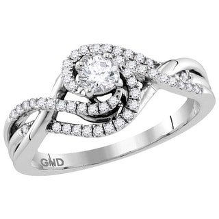 14k White Gold Womens Natural Round Diamond Certified Bridal Wedding Engagement Ring 1/2 Cttw