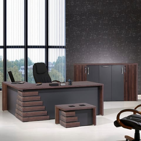 Modern Atlas 3 Piece L Shaped Desk Office Suite Furniture Set 71""